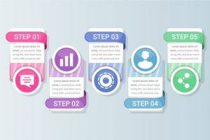 text boxes flat design infographic with steps options