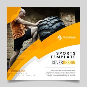 Template sport flyer with photo Free Vector