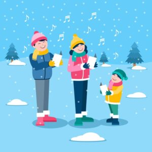 Christmas family scene singing carols in the snow Free Vector