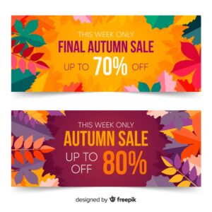 Flat autumn banners template with leaves Free Vector
