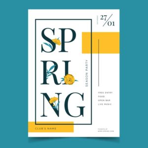 flat design spring party poster template