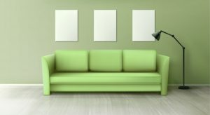 interior with green sofa lamp blank white posters