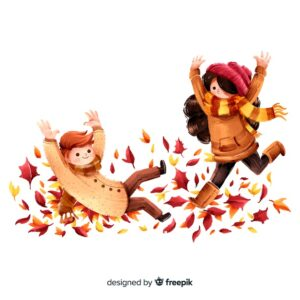 People in the autumn park having fun Free Vector