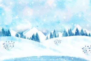 Snowy winter landscape wallpaper Free Vector
