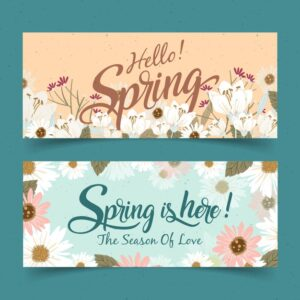 Vintage spring banners Free Vector