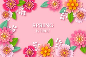 Colorful spring background in paper style Free Vector