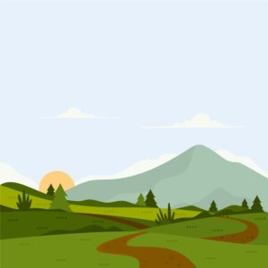 Flat design colourful spring landscape Free Vector