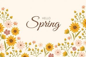 Flat design floral spring background with lettering Free Vector