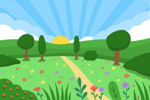 Hand drawn spring landscape Free Vector