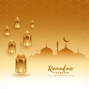 Ramadan kareem festival card with mosque and lamps Free Vector تصاميم رمضان
