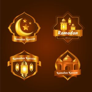 Realistic ramadan badge collection Free Vector