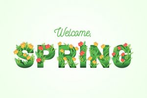Spring background with colorful greeting Free Vector