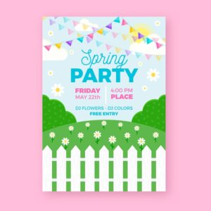 Spring party flyer template in flat design Free Vector
