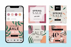 Spring sale instagram posts Free Vector