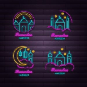 Creative ramadan neon sign collection Free Vector