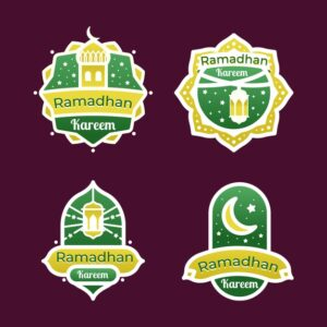 Flat design ramadan badge collection Free Vector