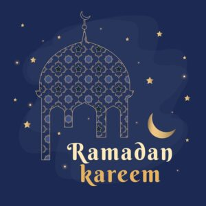 Flat design ramadan event lettering with illustration Free Vector