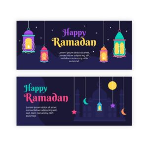 Flat design ramadan horizontal banners with illustrated lamps Free Vector