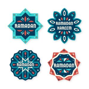 Flat ramadan label collection Free Vector