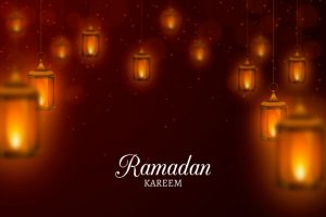 Realistic happy ramadan kareem with lights Free Vector