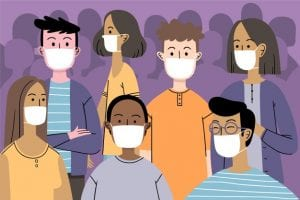 Crowd of people wearing face masks Free Vector