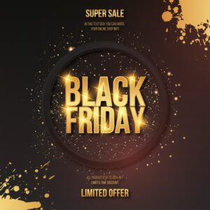 Modern black friday golden sale with text effect and splash frame Free Vector