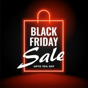 Neon black friday sale background with shopping bag Free Vector