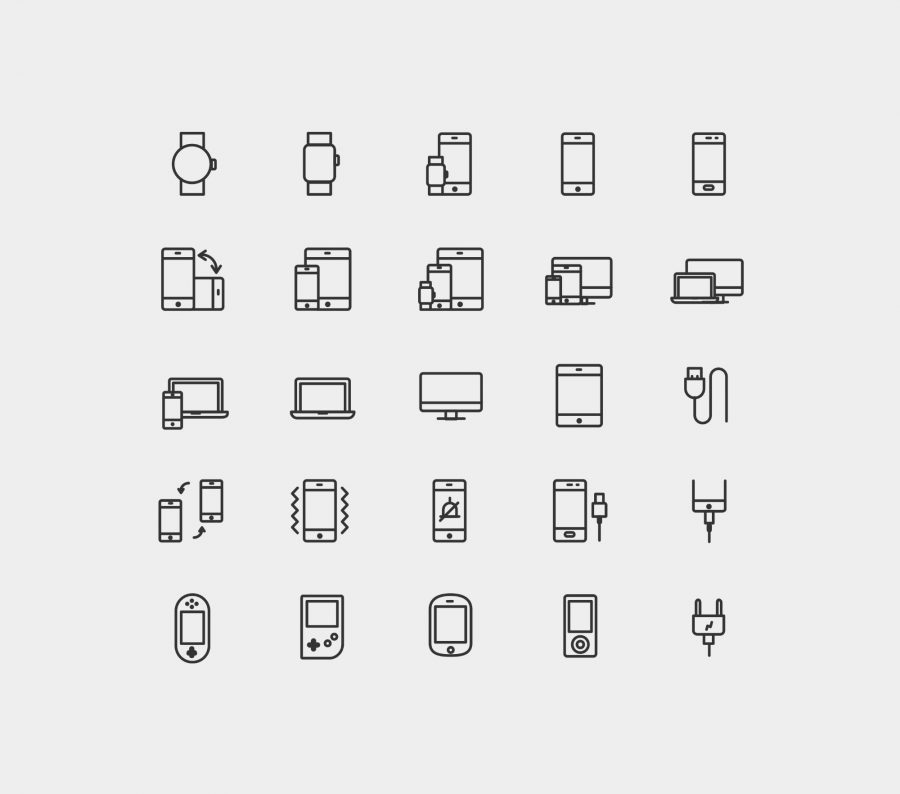 25 Device Vector Line Icons