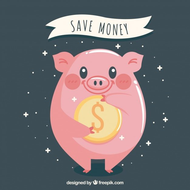 Background of happy piggy bank with a coin Free Vector - جرافيكس