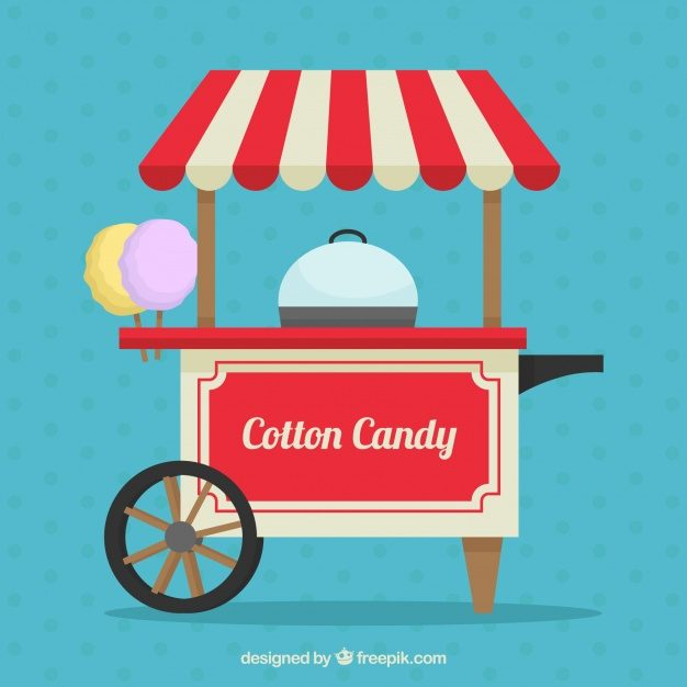 Background of retro cotton candy cart in flat design Free Vector