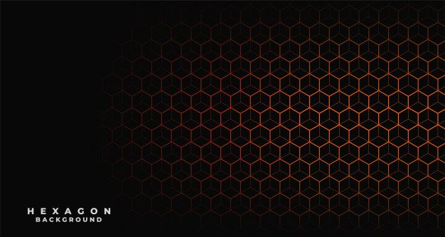 Black background with orange hexagonal pattern Free Vector
