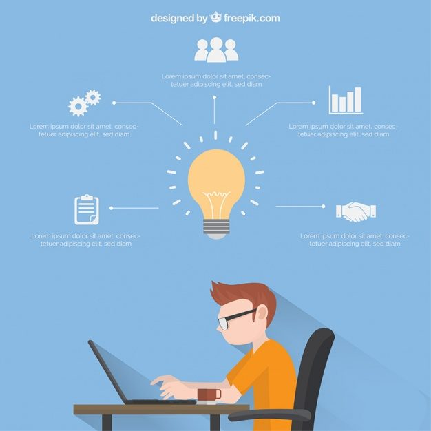 Business infographic template with boy working Free Vector