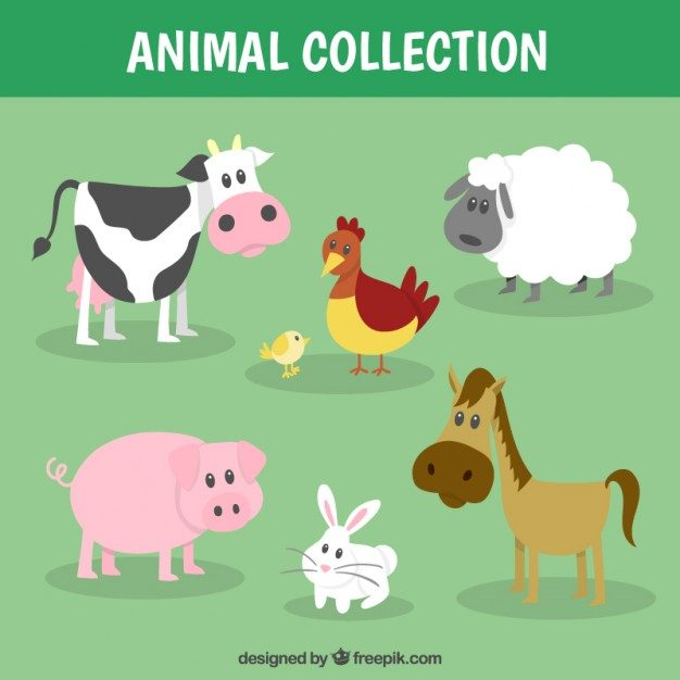 Funny farm animal collection Free Vector