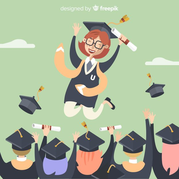 Happy students graduating with flat design Free Vector