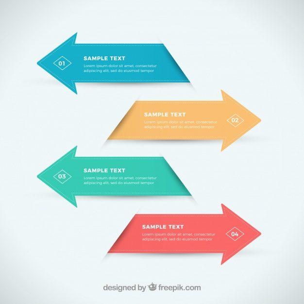 Infographic arrows in flat design Free Vector