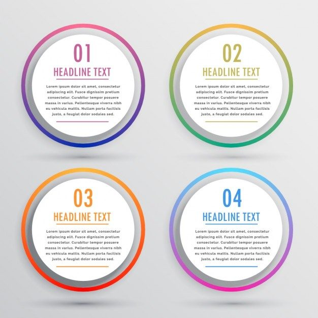 Infographics with intense colors and circular shapes Free Vector