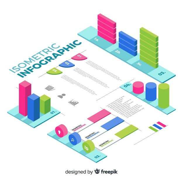 Isometric infographics element collection Free Vector