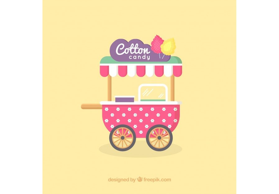 Pretty vintage cotton candy cart Free Vector