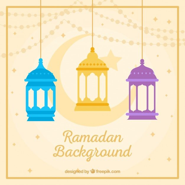 Ramadan background with colorful lamps and ornaments Free Vector