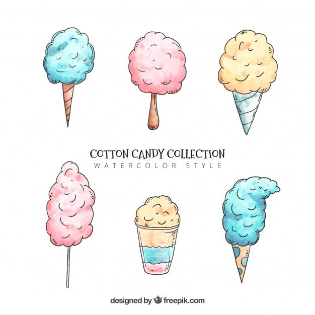 Set of hand drawn candy cottons Free Vector