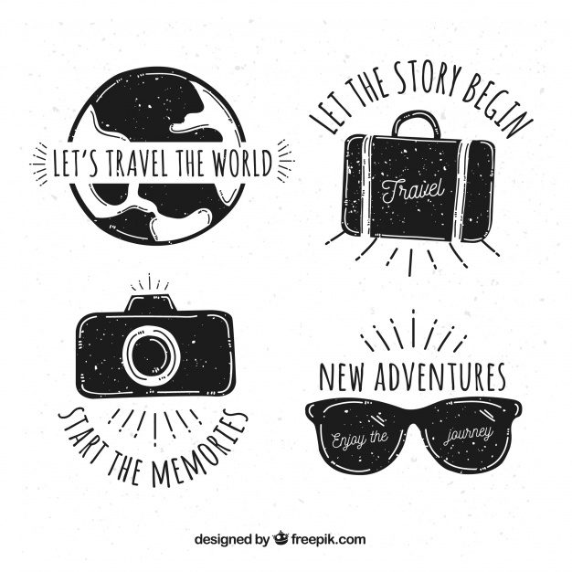 Set of hand drawn travel logos Free Vector