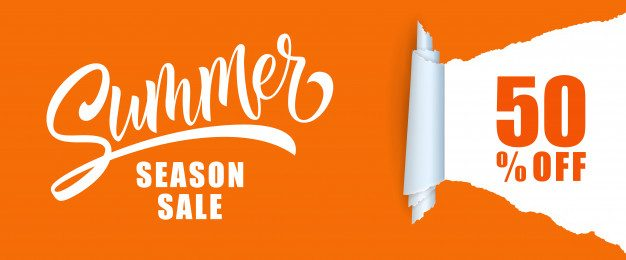 Summer season sale fifty percent off lettering. Free Vector
