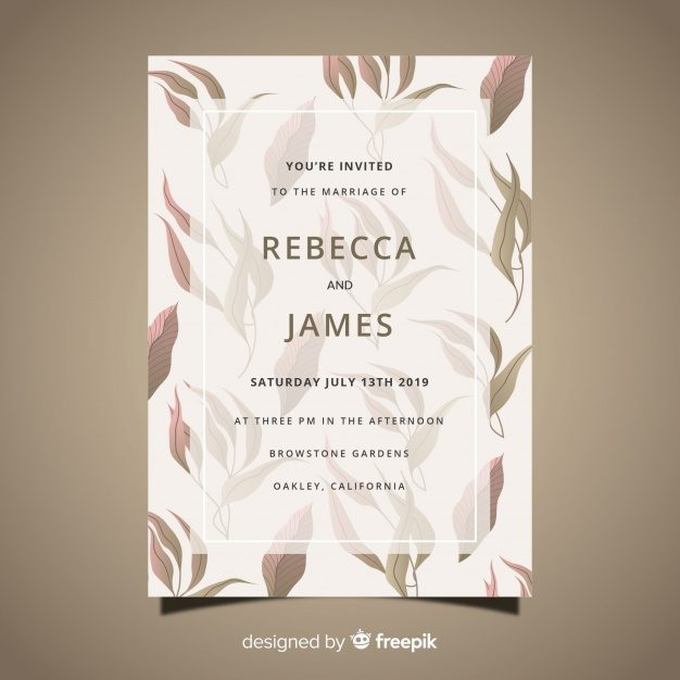Wedding card template with hand drawn leaves Free Vector