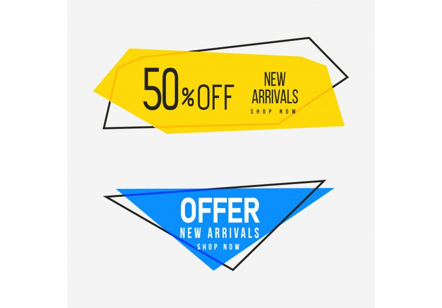 Yellow and blue geometric sale banners with multipurpose text space Free Vector